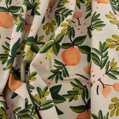 Rifle Paper Co. for Cotton and Steel, Primavera Canvas, Citrus Floral Sand