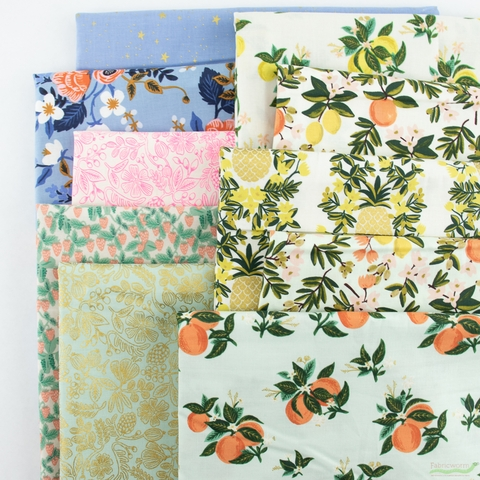 Rifle Paper Co. for Cotton and Steel, Primavera, Citrus Blossom Orange Metallic