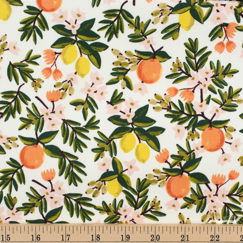 Rifle Paper Co. for Cotton and Steel, Primavera, Citrus Floral Cream