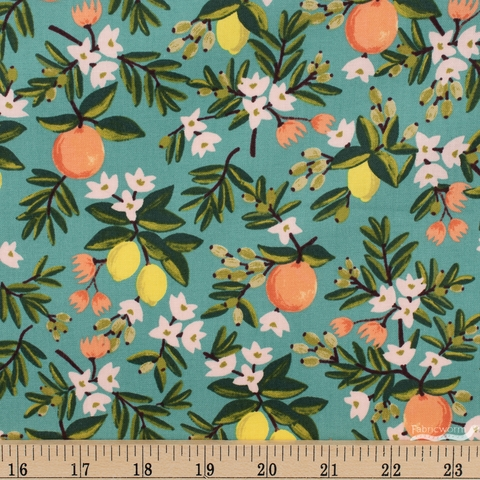 Rifle Paper Co. for Cotton and Steel, Primavera, Citrus Floral Teal