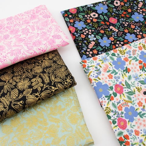 Rifle Paper Co. for Cotton and Steel, Primavera, Moxie Floral Black Metallic