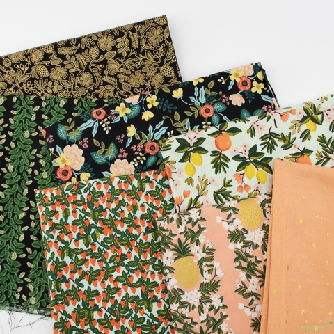 Rifle Paper Co. for Cotton and Steel, Primavera, Pineapple Stripe Peach Metallic