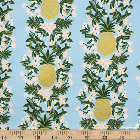 Rifle Paper Co. for Cotton and Steel, Primavera, Pineapple Stripe Periwinkle Metallic