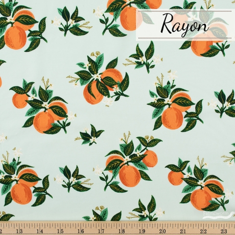 Rifle Paper Co. for Cotton and Steel, Primavera Rayon, Citrus Blossom Orange