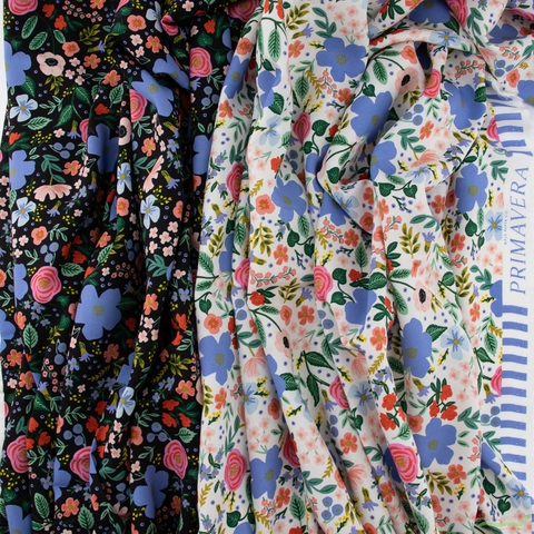 Rifle Paper Co. for Cotton and Steel, Primavera Rayon, Wild Rose Black