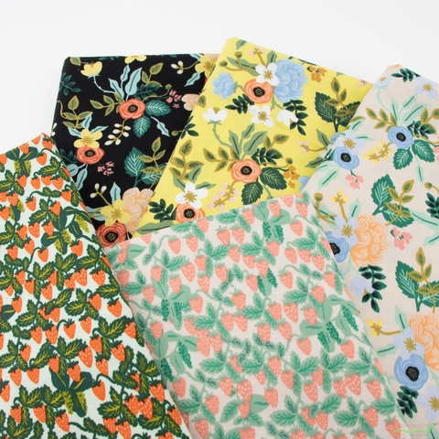 Rifle Paper Co. for Cotton and Steel, Primavera, Strawberry Fields Mint