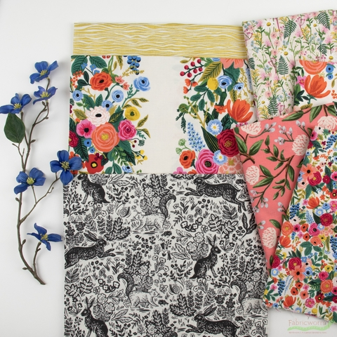Rifle Paper Co. for Cotton and Steel, Wildwood, Cream and Sugar in HALF YARDS 7 Total