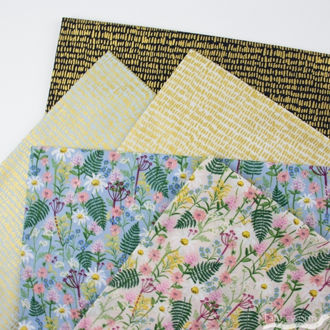 Rifle Paper Co. for Cotton and Steel, Wildwood, LAWN, Wildflowers Pale Rose