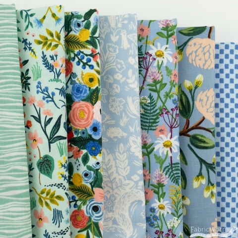 Rifle Paper Co. for Cotton and Steel, Wildwood, Mint Chip in FAT QUARTERS 7 Total (PRECUT