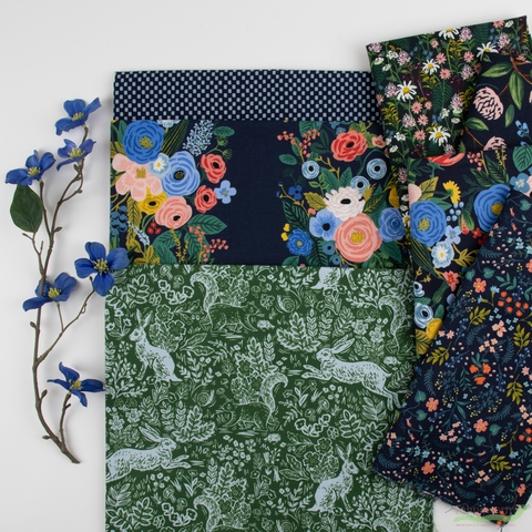 Rifle Paper Co. for Cotton and Steel, Wildwood, Nightly Tea in FAT QUARTERS 7 Total