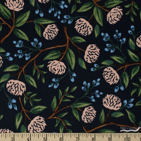 Rifle Paper Co. for Cotton and Steel, Wildwood, Peonies Navy