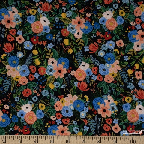 Rifle Paper Co. for Cotton and Steel, Wildwood, RAYON, Petite Garden Party Navy