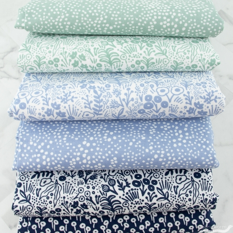 Rifle Paper Co. for Cotton + Steel, Basics, Botanical Blue Bundle 6 Total