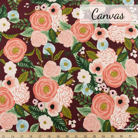 Rifle Paper Co. for Cotton + Steel, Garden Party Canvas, Juliet Rose Burgundy