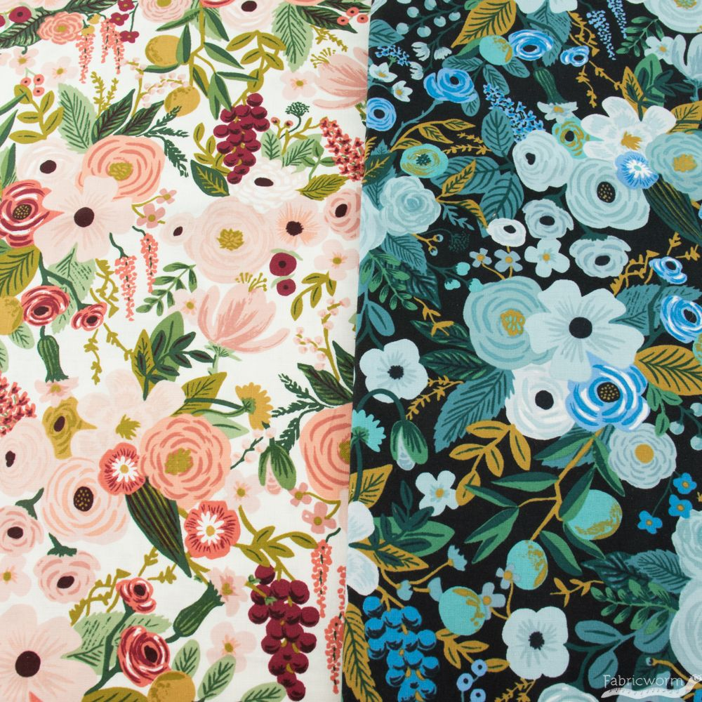 Rifle Paper Co Floral Design Fabric Custom Initials| Set of 3 Flower Fabric Prints Fabric Wall Decor
