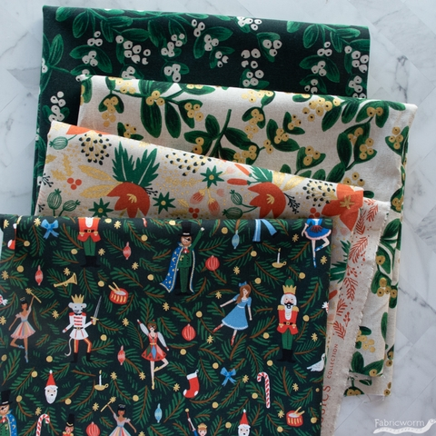 Rifle Paper Co. for Cotton + Steel, Holiday Classics Canvas, Mistletoe Natural Metallic