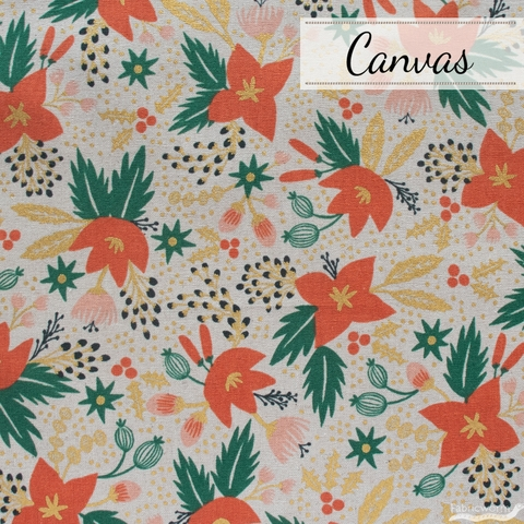 Rifle Paper Co. for Cotton + Steel, Holiday Classics Canvas, Poinsettia Natural Metallic