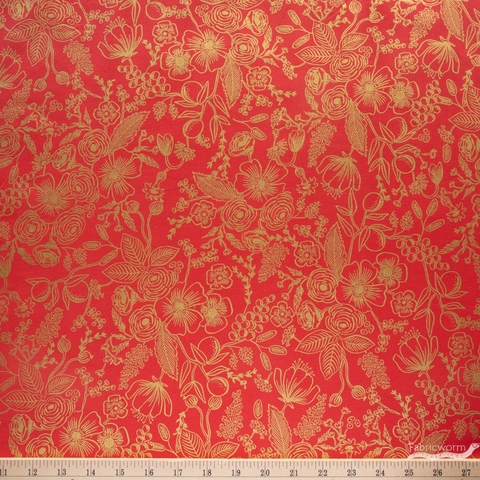 Rifle Paper Co. for Cotton + Steel, Holiday Classics, Colette Red Metallic