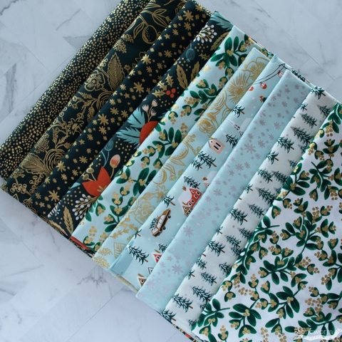 Rifle Paper Co. for Cotton + Steel, Holiday Classics, Menagerie Champagne Evergreen Metallic