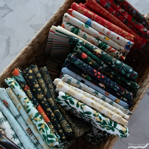 Rifle Paper Co. for Cotton + Steel, Holiday Classics, Mistletoe Evergreen