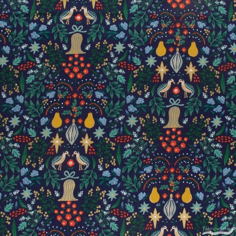 Rifle Paper Co. for Cotton + Steel, Holiday Classics, Partridge Navy Metallic