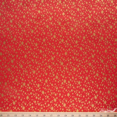 Rifle Paper Co. for Cotton + Steel, Holiday Classics, Starry Night Red Metallic