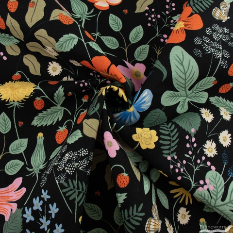 Rifle Paper Co. for Cotton + Steel, Strawberry Fields Canvas, Main Fields Black Pigment