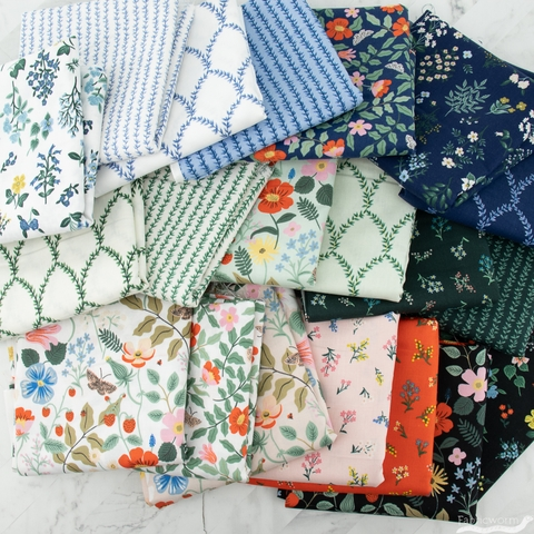 Rifle Paper Co. for Cotton + Steel, Strawberry Fields Entire Collection Pre-Cut Fat Quarter Roll 20 Total