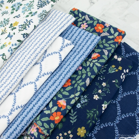 Rifle Paper Co. for Cotton + Steel, Strawberry Fields, Hawthorne Navy
