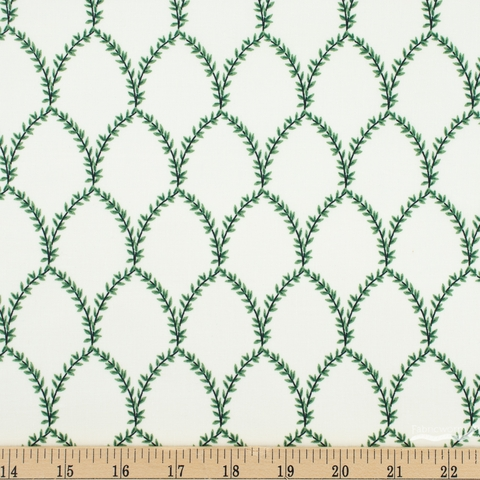 Rifle Paper Co. for Cotton + Steel, Strawberry Fields, Laurel Green Cream