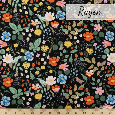 Rifle Paper Co. for Cotton + Steel, Strawberry Fields Rayon, Main Fields Black