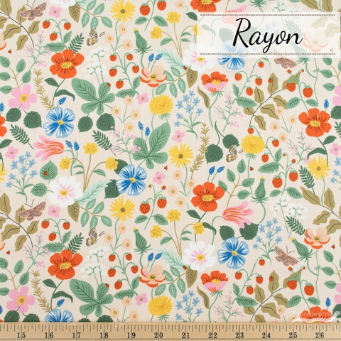 Rifle Paper Co. for Cotton + Steel, Strawberry Fields Rayon, Main Fields Blush