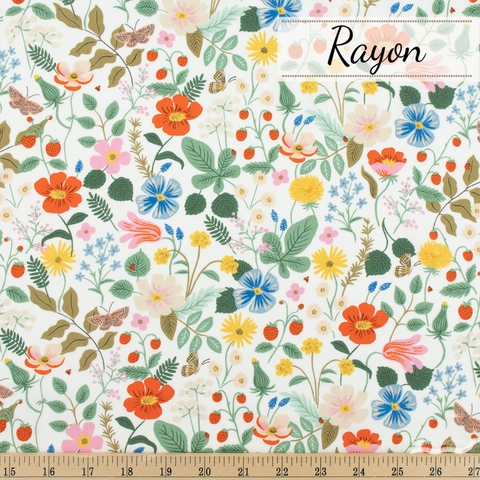 Rifle Paper Co. for Cotton + Steel, Strawberry Fields Rayon, Main Fields Ivory