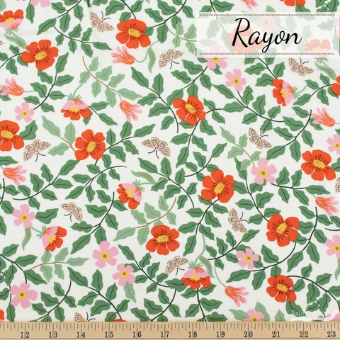Rifle Paper Co. for Cotton + Steel, Strawberry Fields Rayon, Primrose Ivory