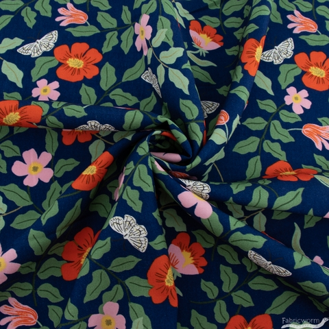 Rifle Paper Co. for Cotton + Steel, Strawberry Fields Rayon, Primrose Navy
