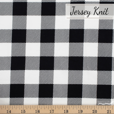 Riley Blake, Designer Jersey Knit, Let Them Be Little Lumberjack Plaid Black