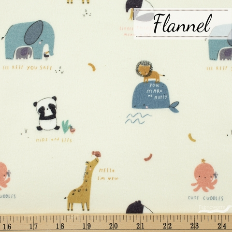 Riley Blake, Juvenile Flannel, Cute Cuddles Cream