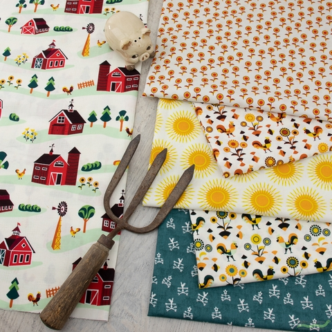 RJR Fabrics, Lil' Bit Country, Rockin Rooster Green