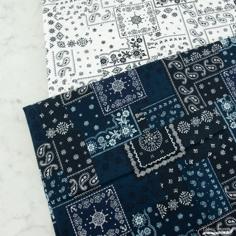Robert Kaufman, Bandana Poplin, Paisley Direction Navy