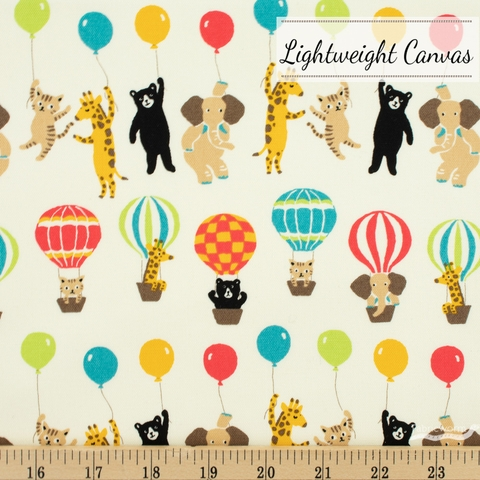 Robert Kaufman, Bearry Land Lightweight Canvas, Balloon Line Multi