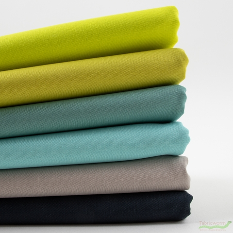 Robert Kaufman, Kona Cotton Solids, Bioluminescent Tides in HALF YARDS 6 Total
