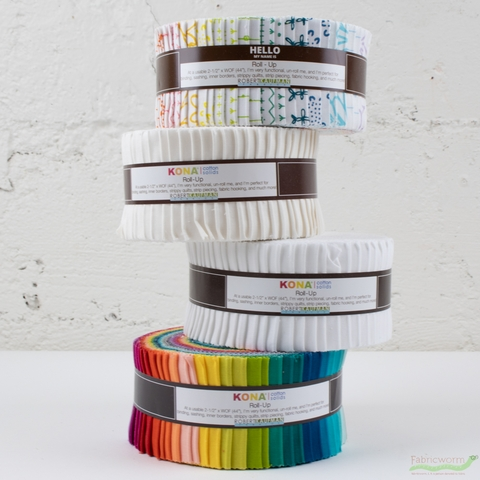 Robert Kaufman, Kona Cotton Solids, White Colorstory ROLL-UP (40 Strips)