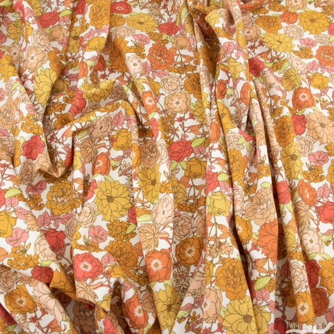 Robert Kaufman, Laguna Jersey Knit Prints, Retro Blooms Creamsicle