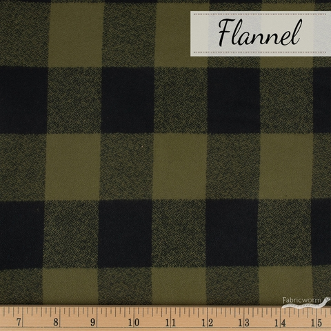 Robert Kaufman, Mammoth FLANNEL, Blocked Olive