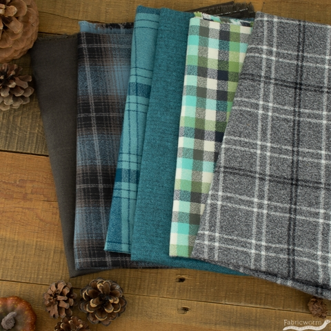 Robert Kaufman, Mammoth Flannel, Lined Stripe Waterfall