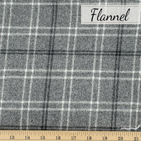 Robert Kaufman, Mammoth Flannel, Static Plaid Pepper
