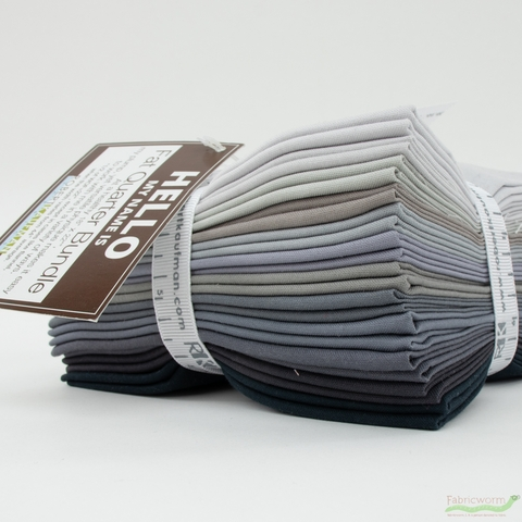 Robert Kaufman, PRE-CUT Kona Cotton Bundle, Gray Area Palette in FAT QUARTERS 12 Total