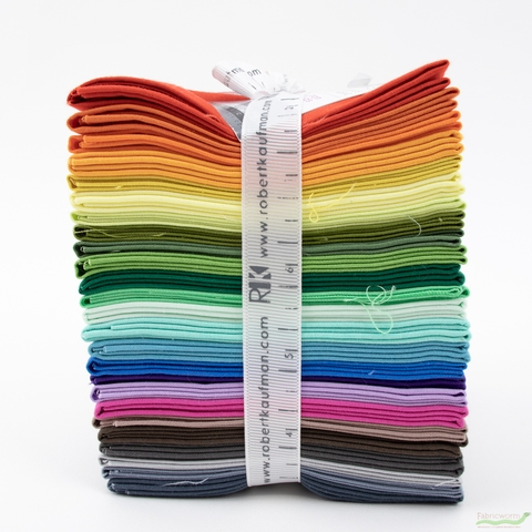 Robert Kaufman, PRE-CUT Kona Cotton Bundle, New Colors 2019 in FAT QUARTERS 25 Total
