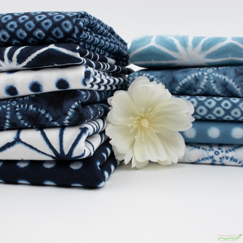Robert Kaufman, Shibori Blues, Star Flower Navy