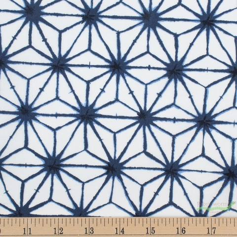 Robert Kaufman, Shibori Blues, Star Flower White